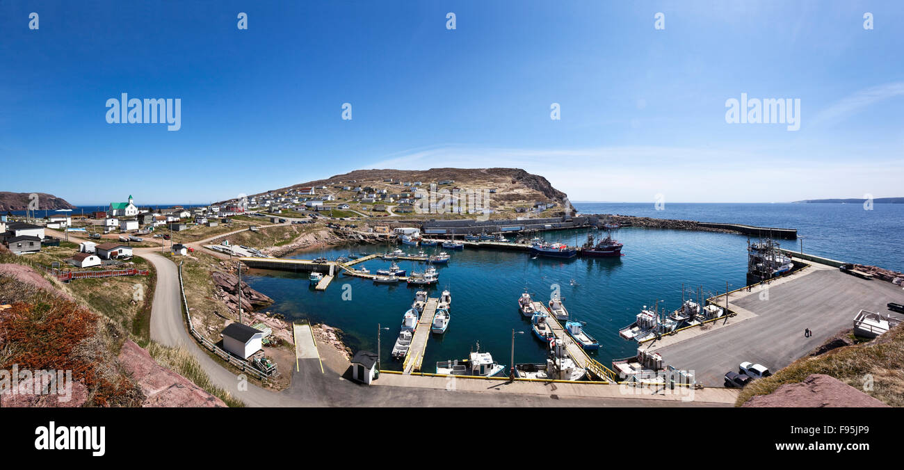 Panoramic View Of The Town Of Bay De Verde On The Shores Of Stock
