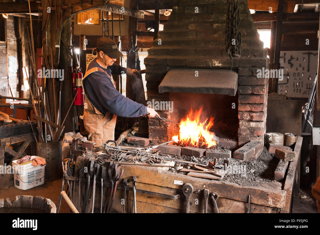 A living history blacksmith museum, the Green Family Forge pays hommage to the six generations of family members Stock Photo