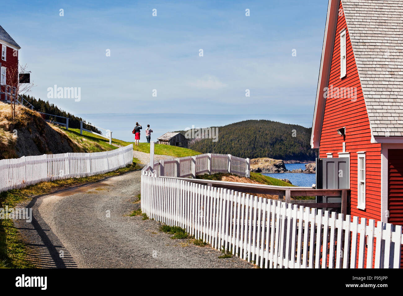 Picket fences on both sites of West Street in the town of Trinity, Newfoundland. On the right is the Rising Tide - Stock Image