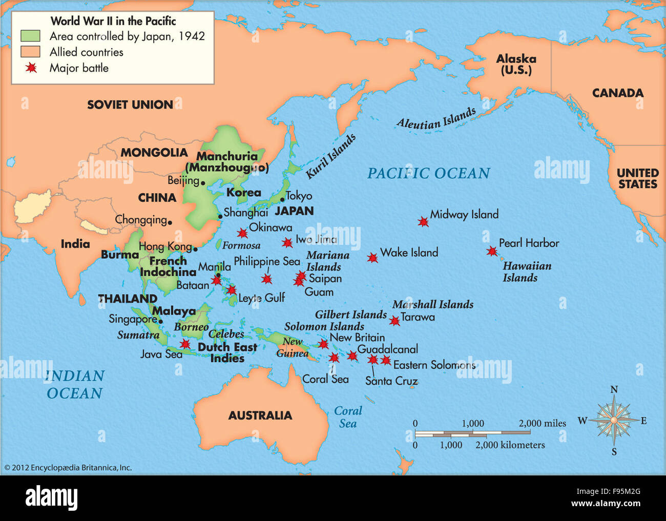 pacific battles map Battles In The Pacific During World War Ii Stock Photo Alamy pacific battles map