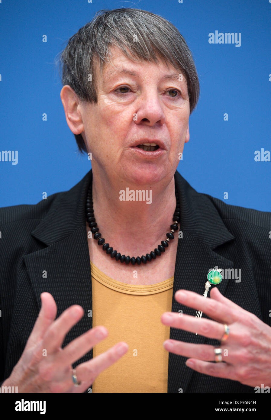 Berlin, Germany. 14th Dec, 2015. German Environmental Minister Barbara Hendricks speaks about the results of the - Stock Image