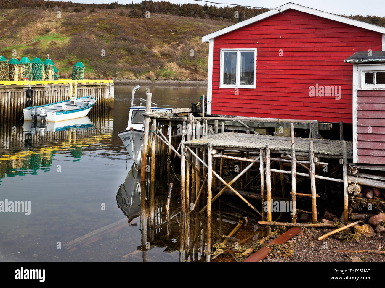 Designated a Municipal Heritage Site, Fortune Fishing Sheds consists of a collection of sheds, wharfs, walkways - Stock Image