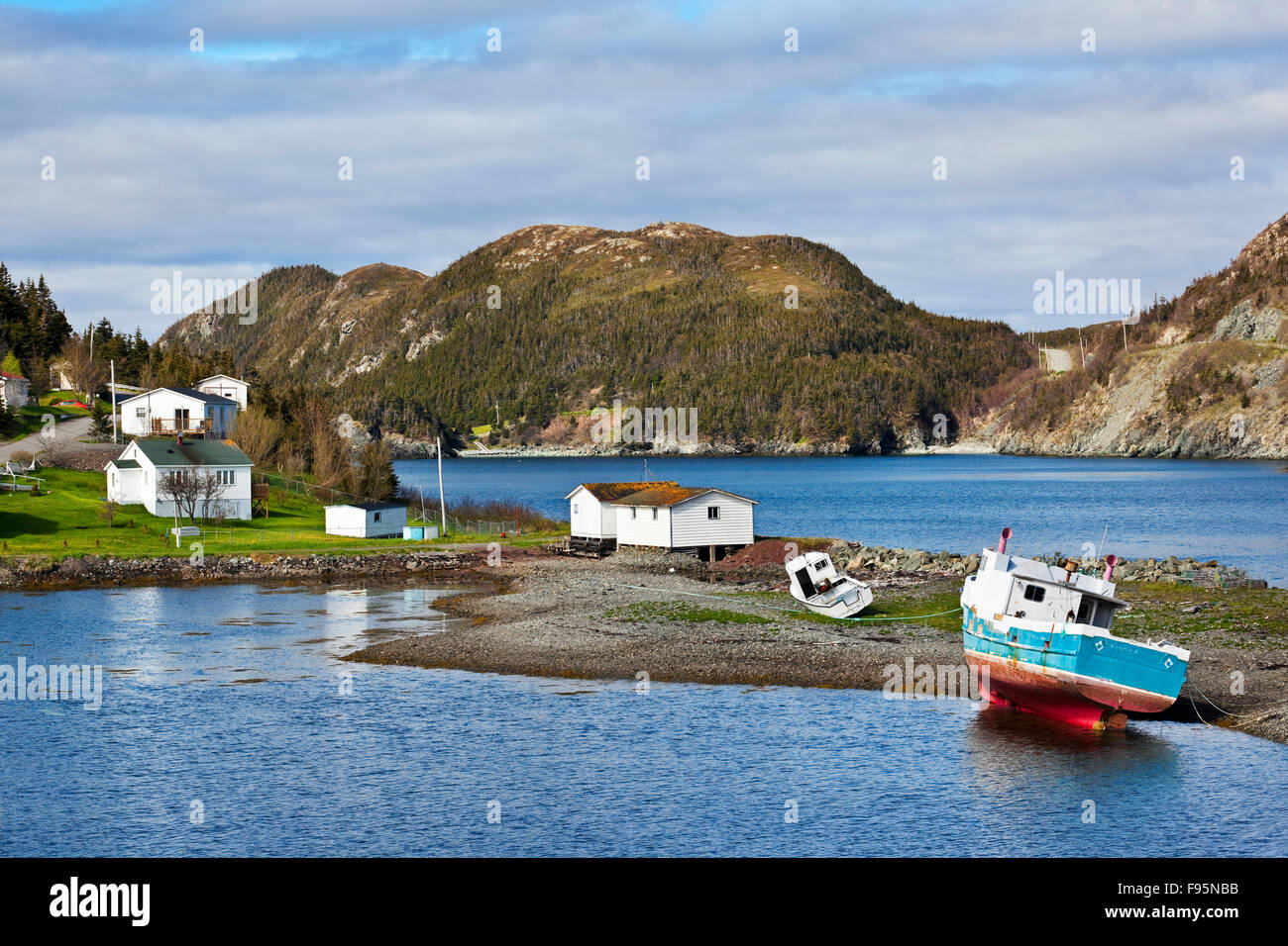 Small coastal town of Port au Bras, north of Burin, Newfoundland. - Stock Image