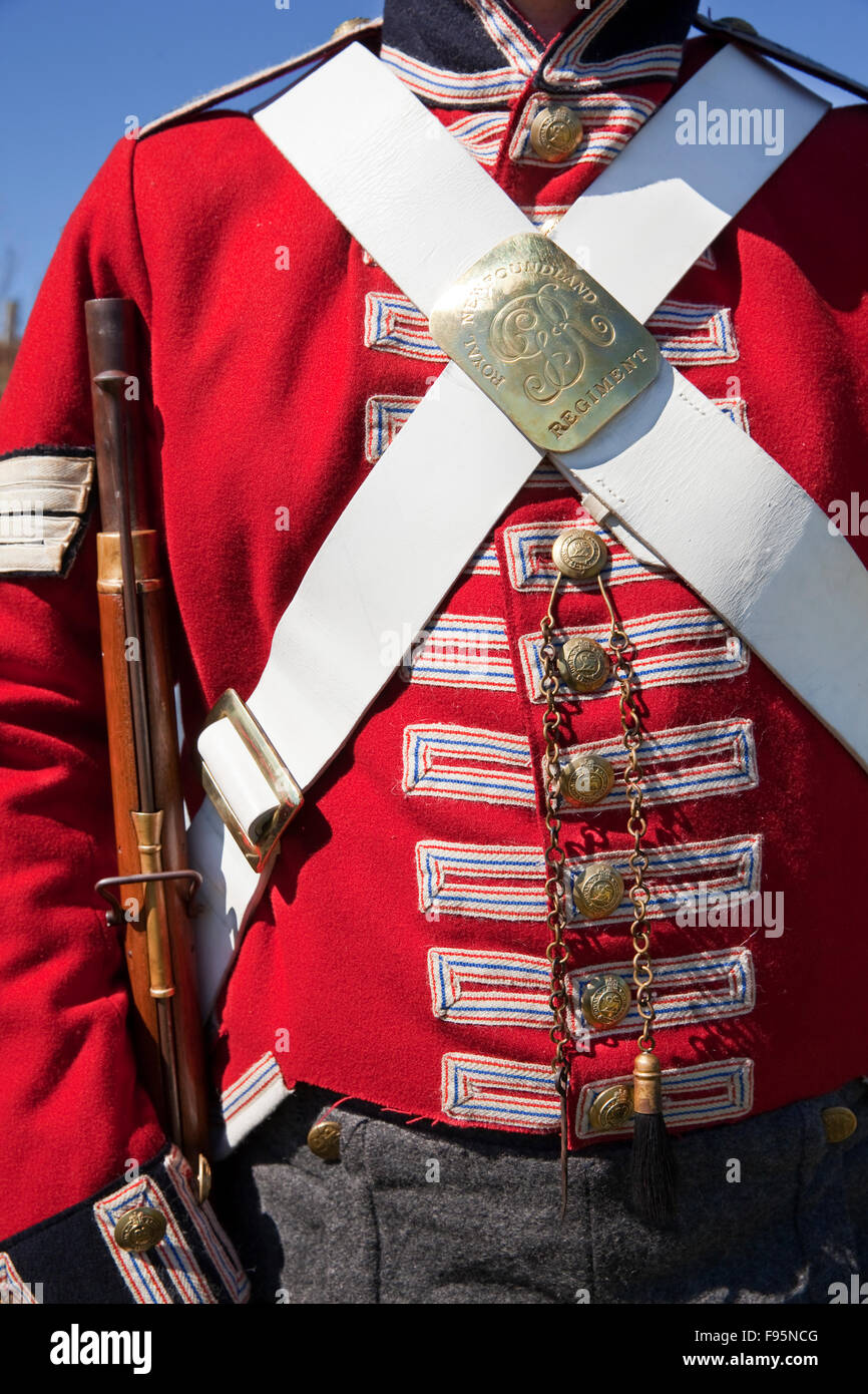 Closeup detail of a Royal Newfoundland Regiment uniform from the 1795 period worn by staff membre at Signal Hill - Stock Image