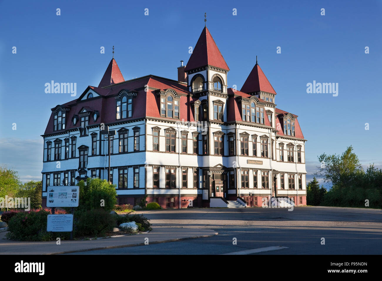 Threestorey wooden Victorian building built between 18931995 that continues to function as a primary school in Lunenburg, - Stock Image