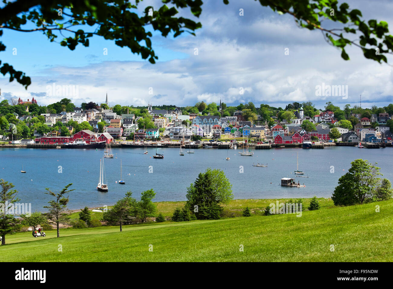 Overall view of the town of Lunenburg, Nova Scotia, from the Bluenose Golf Course. - Stock Image