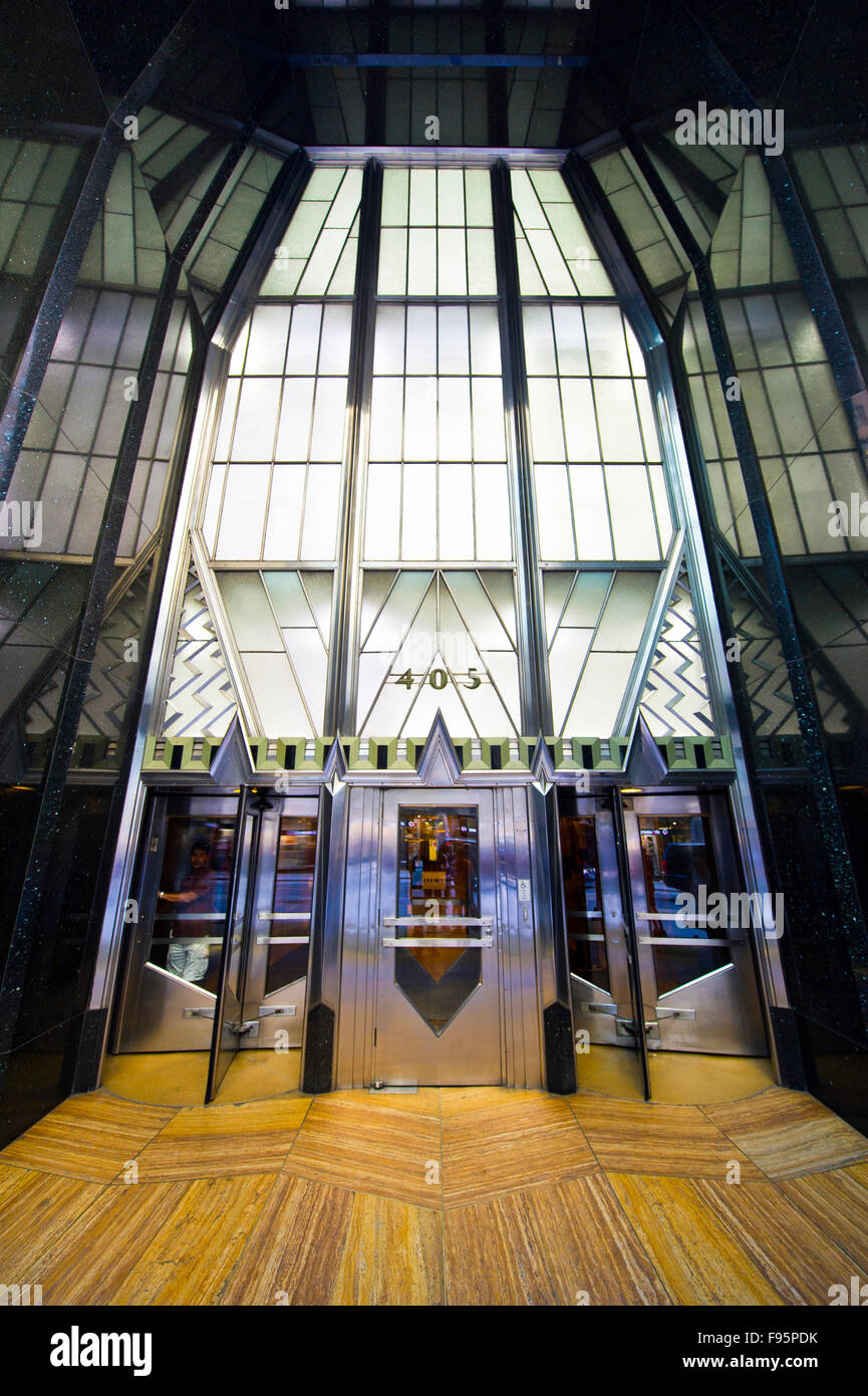 Chrysler Building entrance  a masterpiece of art deco architectural style, New York - Stock Image