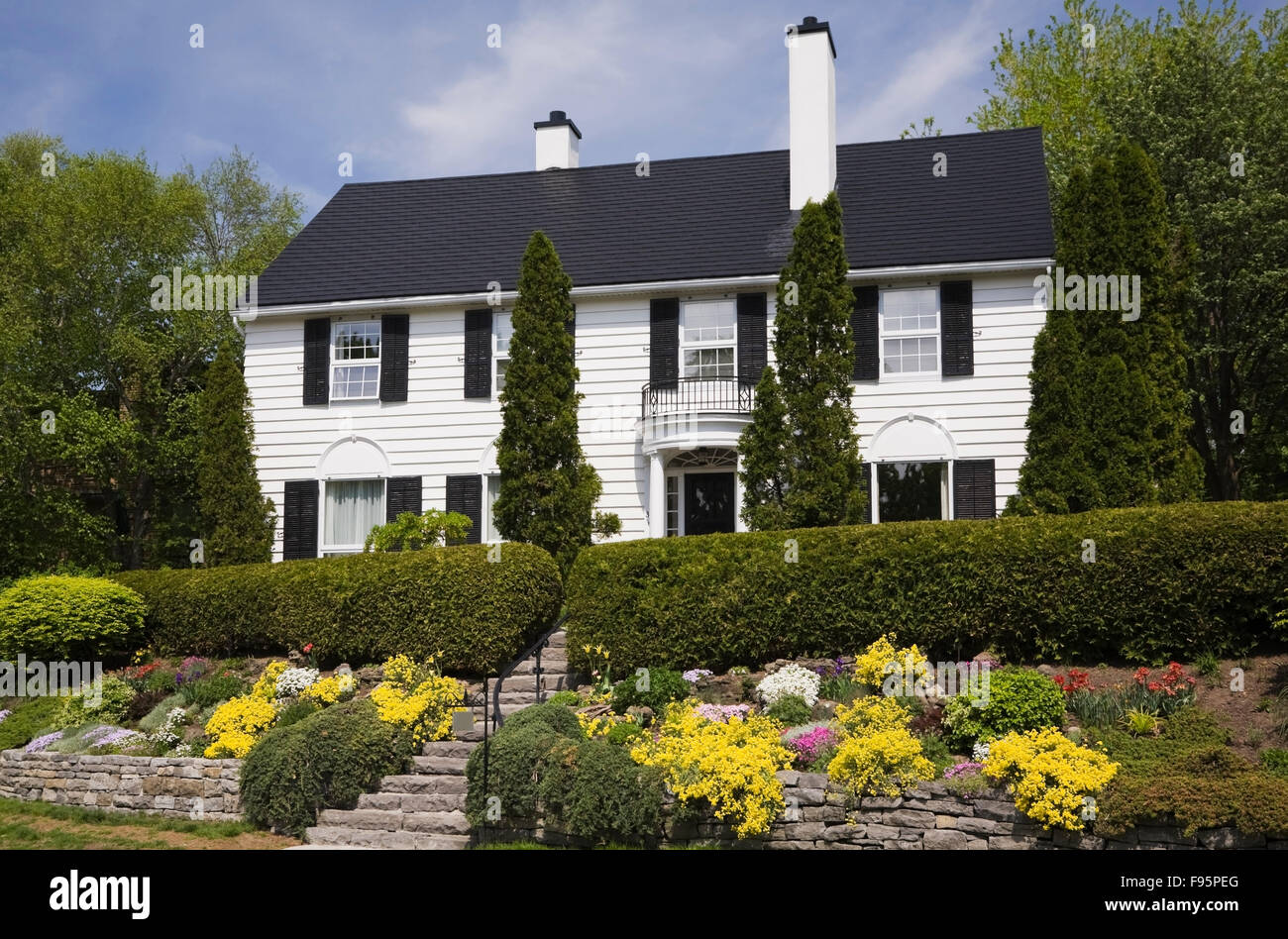 Hedge Shrubs In Front House Stock Photos Amp Hedge Shrubs In