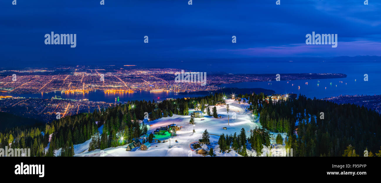 View of Vancouver from Grouse Mountain. - Stock Image