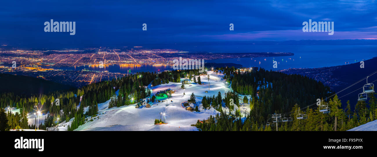 View of Vancouver from Grouse Mountain - Stock Image