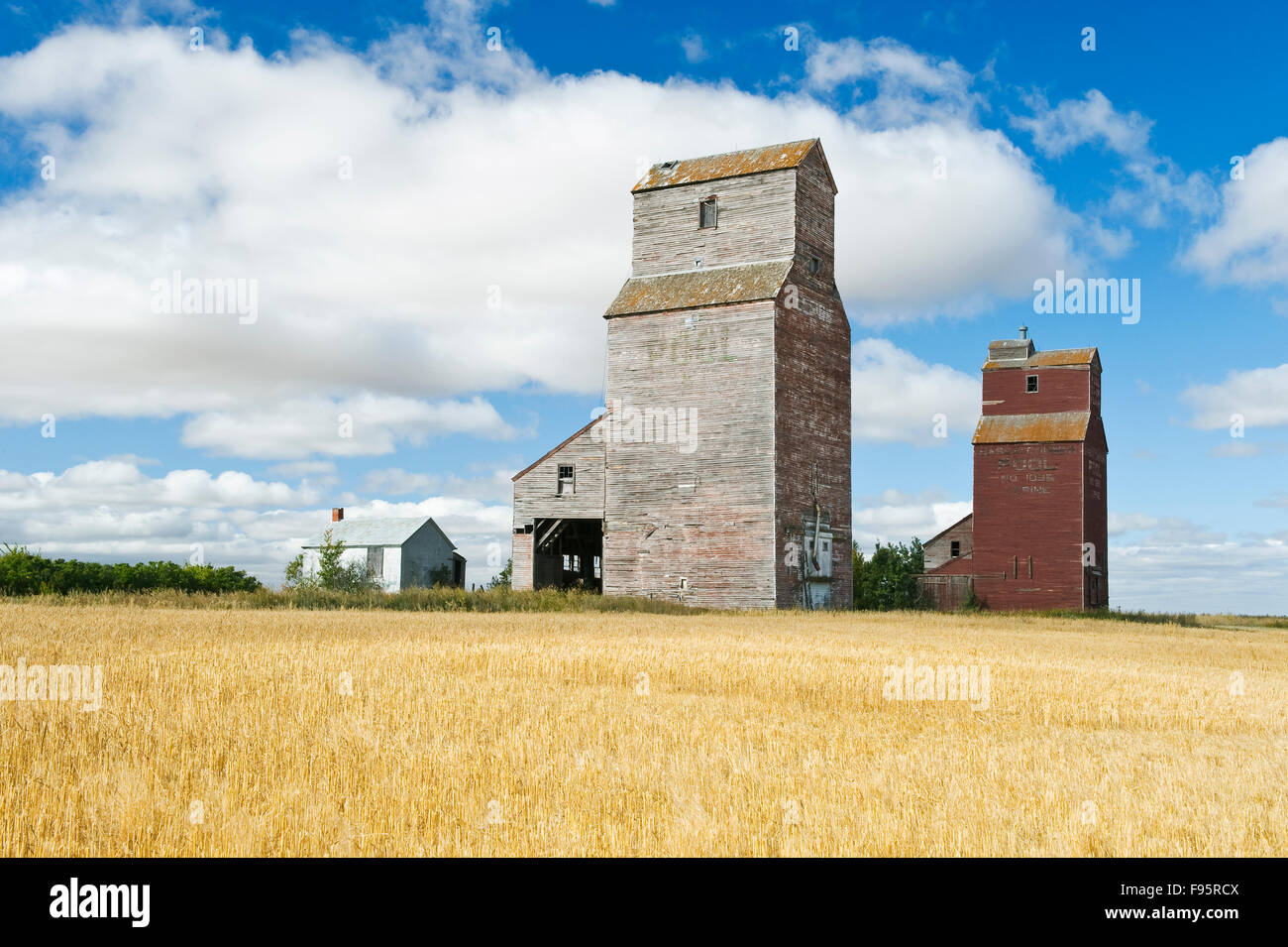 old grain elevators, ghost town of Lepine, Saskatchewan, Canada - Stock Image