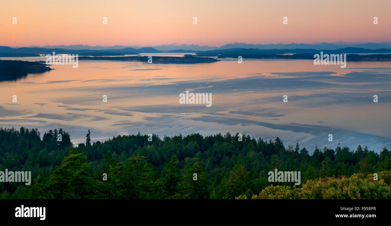 The view of Victoria, BC from Mt. Doug on a summer's evening features sparkling downtown lights, ocean view - Stock Image