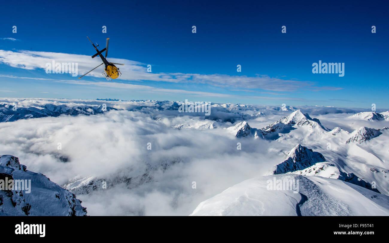 Helicopter, Goat Range, Selkirk Mountains, Kaslo, British Columbia, Canada, Stellar Heli Skiing, Mount Brennan, - Stock Image