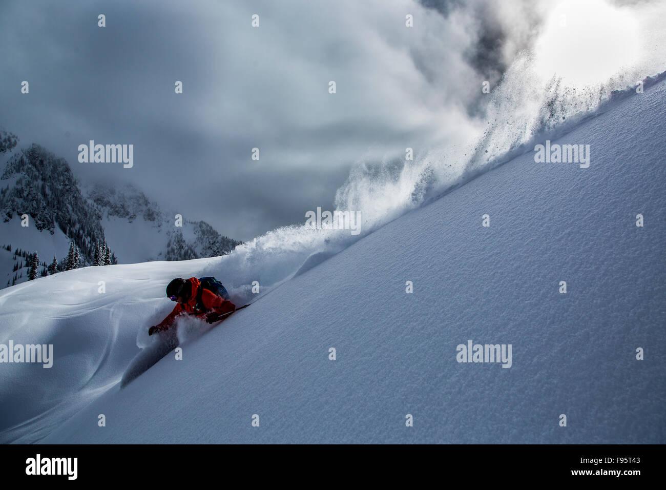 backcountry skiing, Heli Skiing, powder skiing, Stellar Heli Skiing, Mount Brennan, Goat Range, Selkirk Mountains, - Stock Image