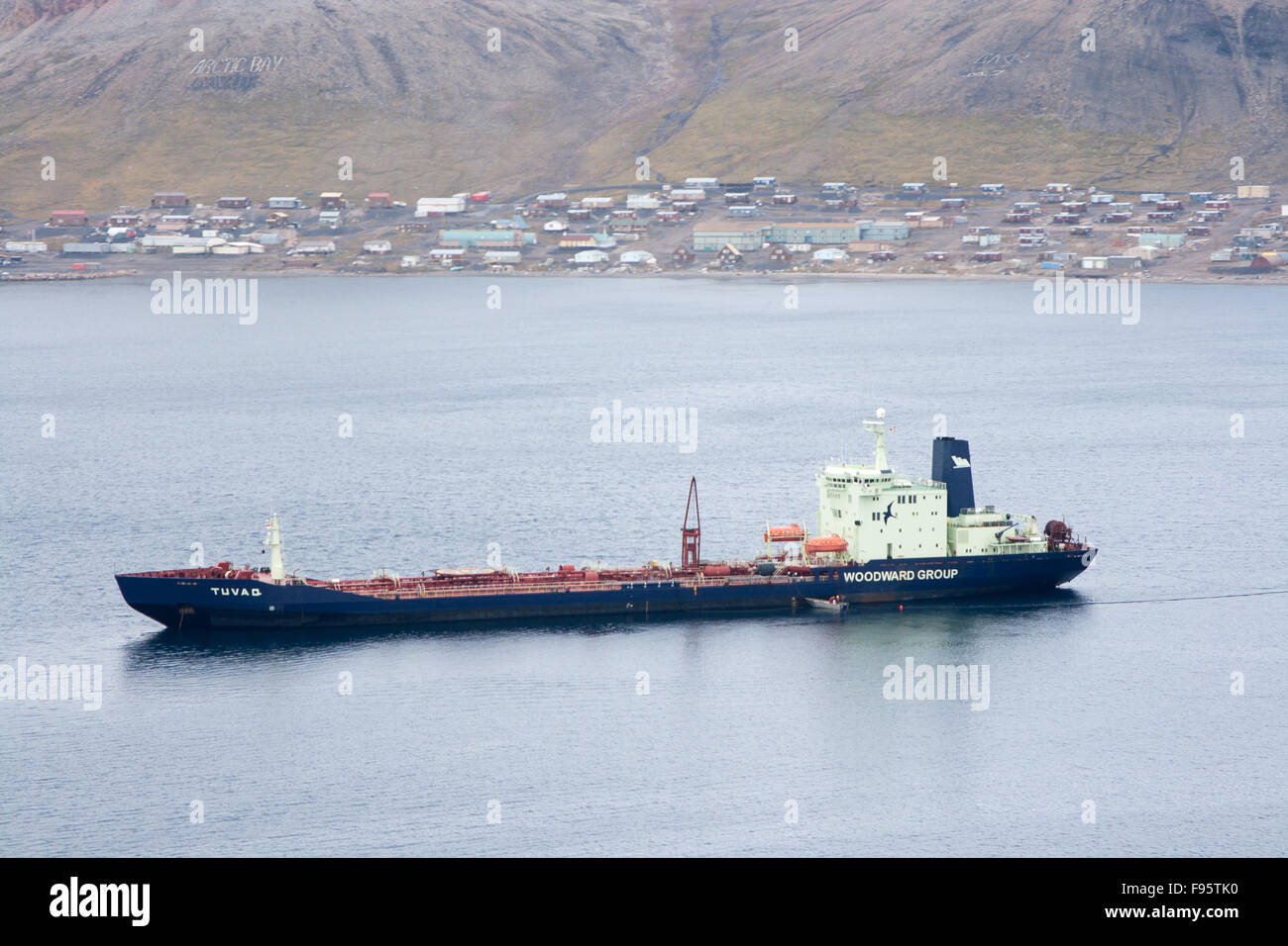 A fuel resupply ship in Arctic Bay, Nunavut, Canada - Stock Image