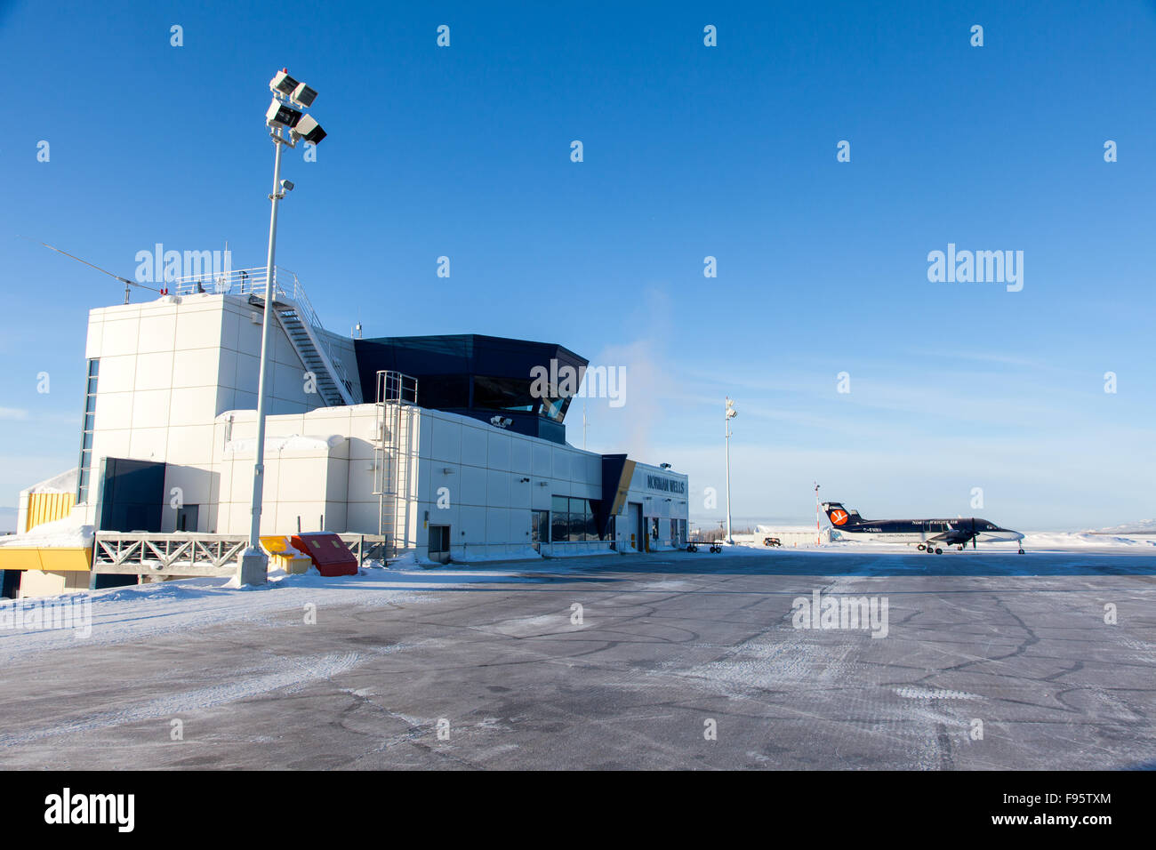 The Airport terminal in Norman Wells, Northwest Territories, Canada. - Stock Image