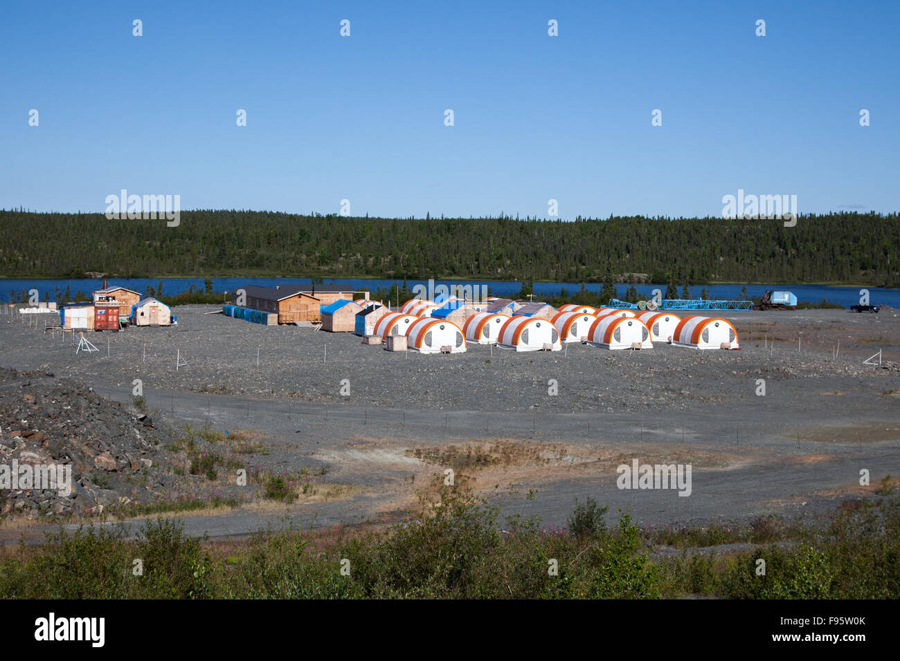 Merc International Minerals' exploration camp at Colomac, Northwest Territories, Canada. Stock Photo