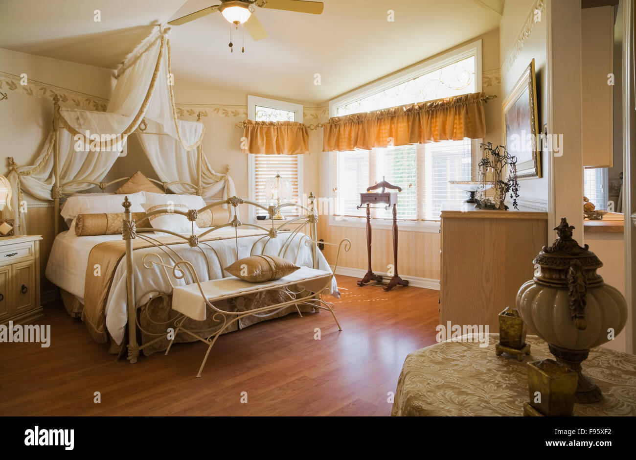 Antique Queen Size Bed With Elaborately Designed Wroughtiron Stock Photo Alamy