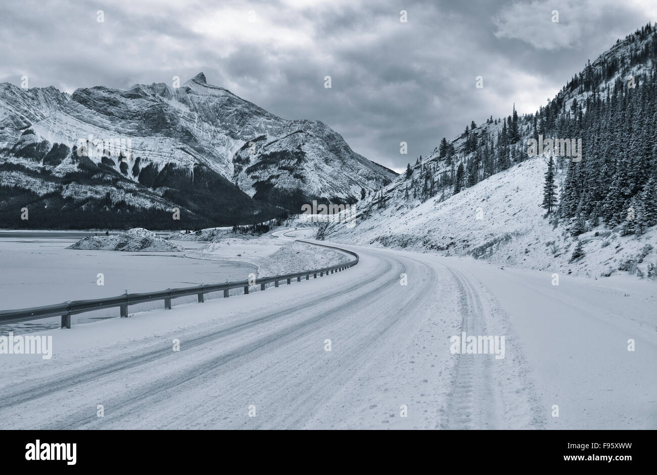 Highway 11 from Mount Michener Viewpoint, Abraham Lake, Alberta, Canada - Stock Image