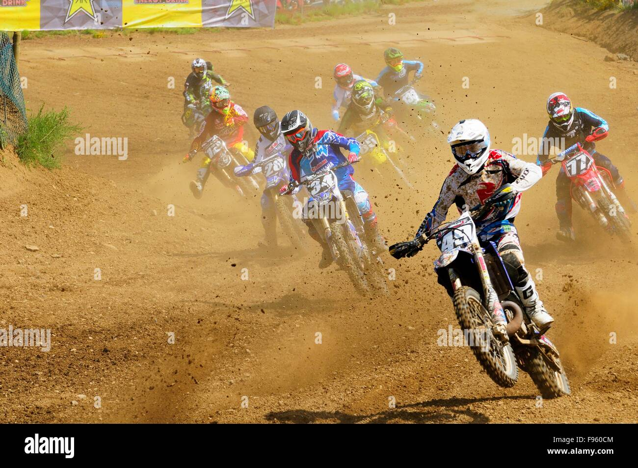 Motocross racing during the Rockstar Energy Pro Nationals at the Wastelands track in Nanaimo, BC. - Stock Image