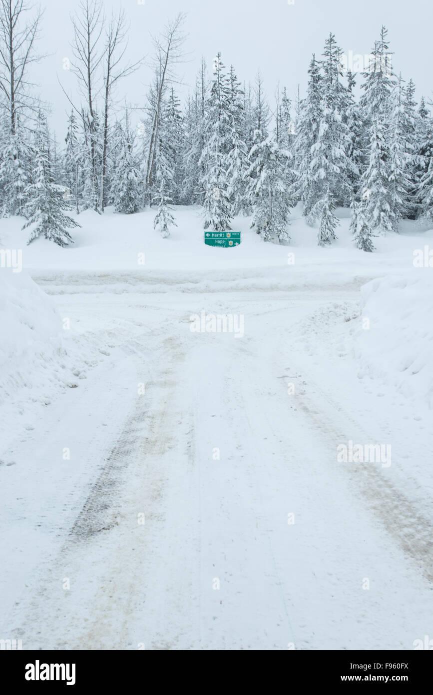 Snowy Roads atop the Coquihalla Summit, British Columbia, Canada - Stock Image