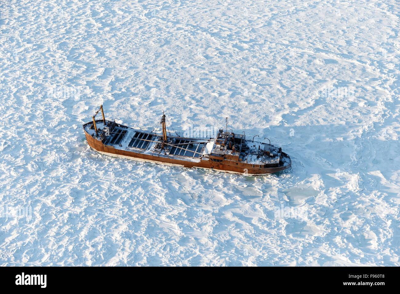 Wreck of the Ithaca, a small freighter that ran  aground during a storm on September 14, 1960, near Churchill, Manitoba. - Stock Image