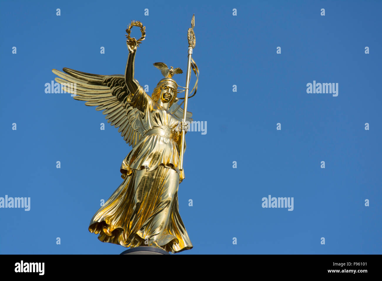 Golden Statue atop the Victory Column or  Siegessaule, Designed by Heinrich Strack, Berlin, Germany Stock Photo