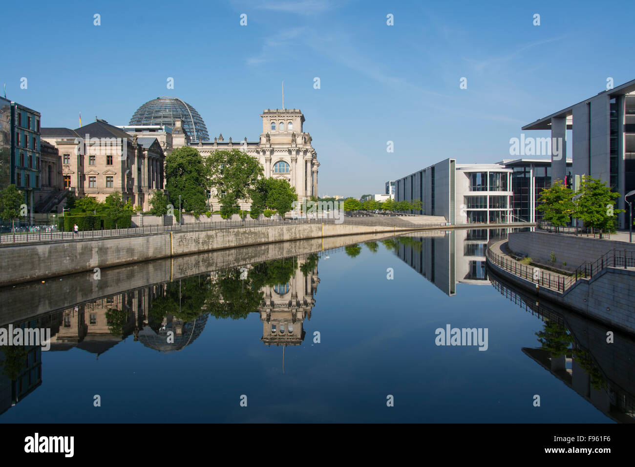 Reichstag building, a historical edifice in Berlin, Germany - Stock Image