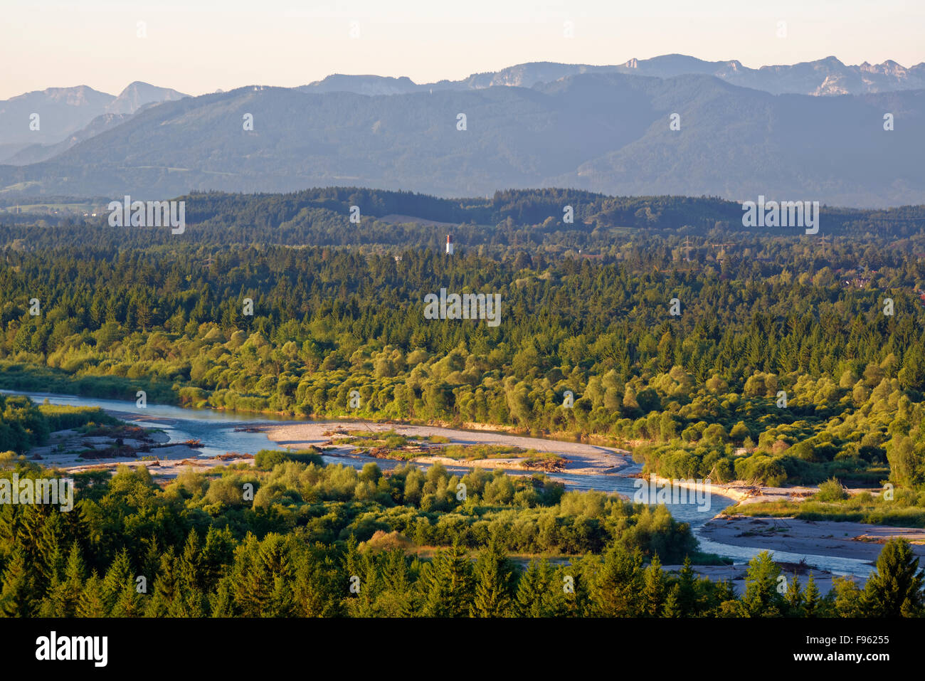 View of Pupplinger Au, Isartal and Alps from Weiße Wand viewpoint, Icking, Wolfratshausen, Upper Bavaria, Bavaria, - Stock Image