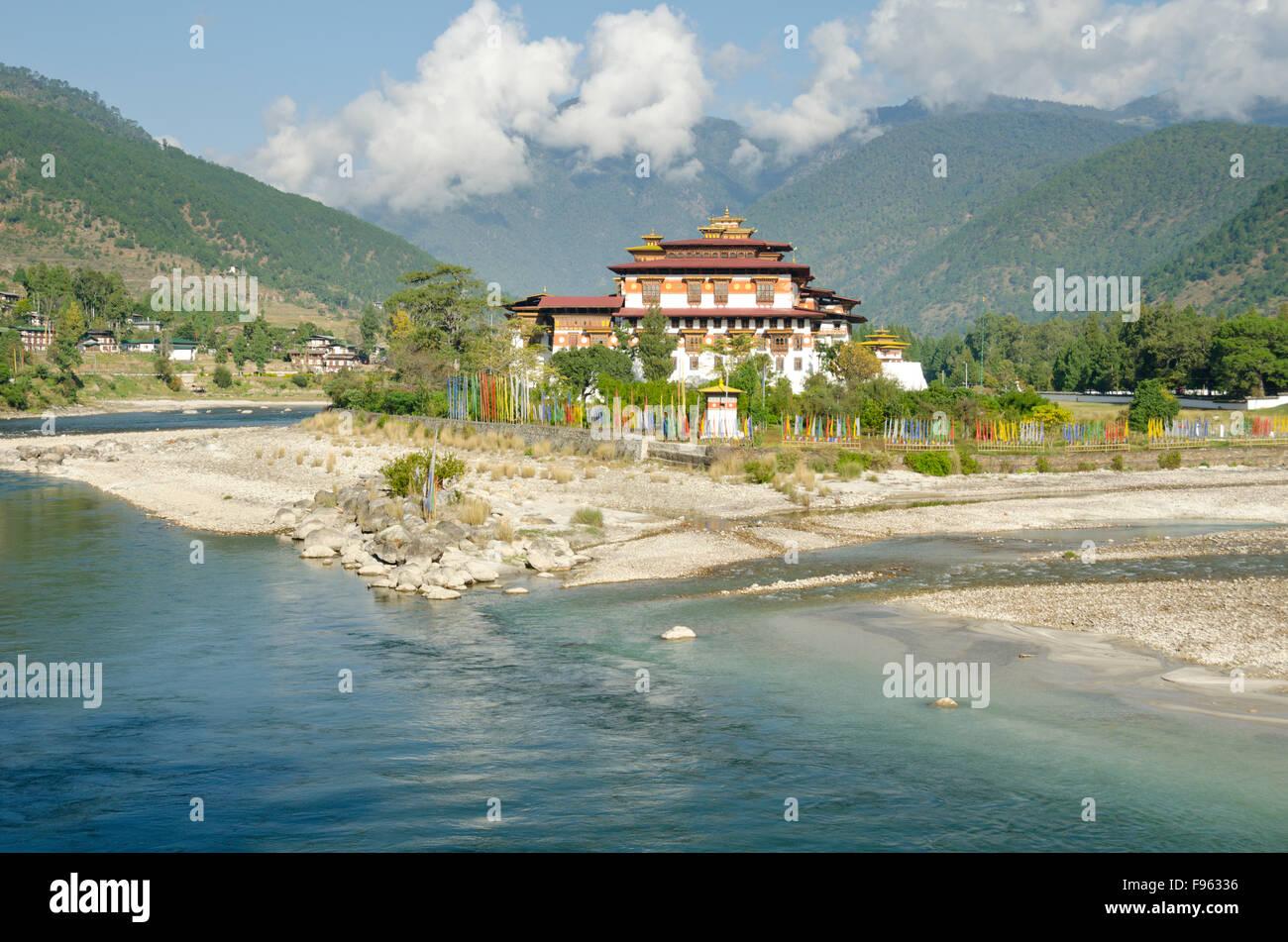 Punakha Dzong near Punakha, Bhutan - Stock Image