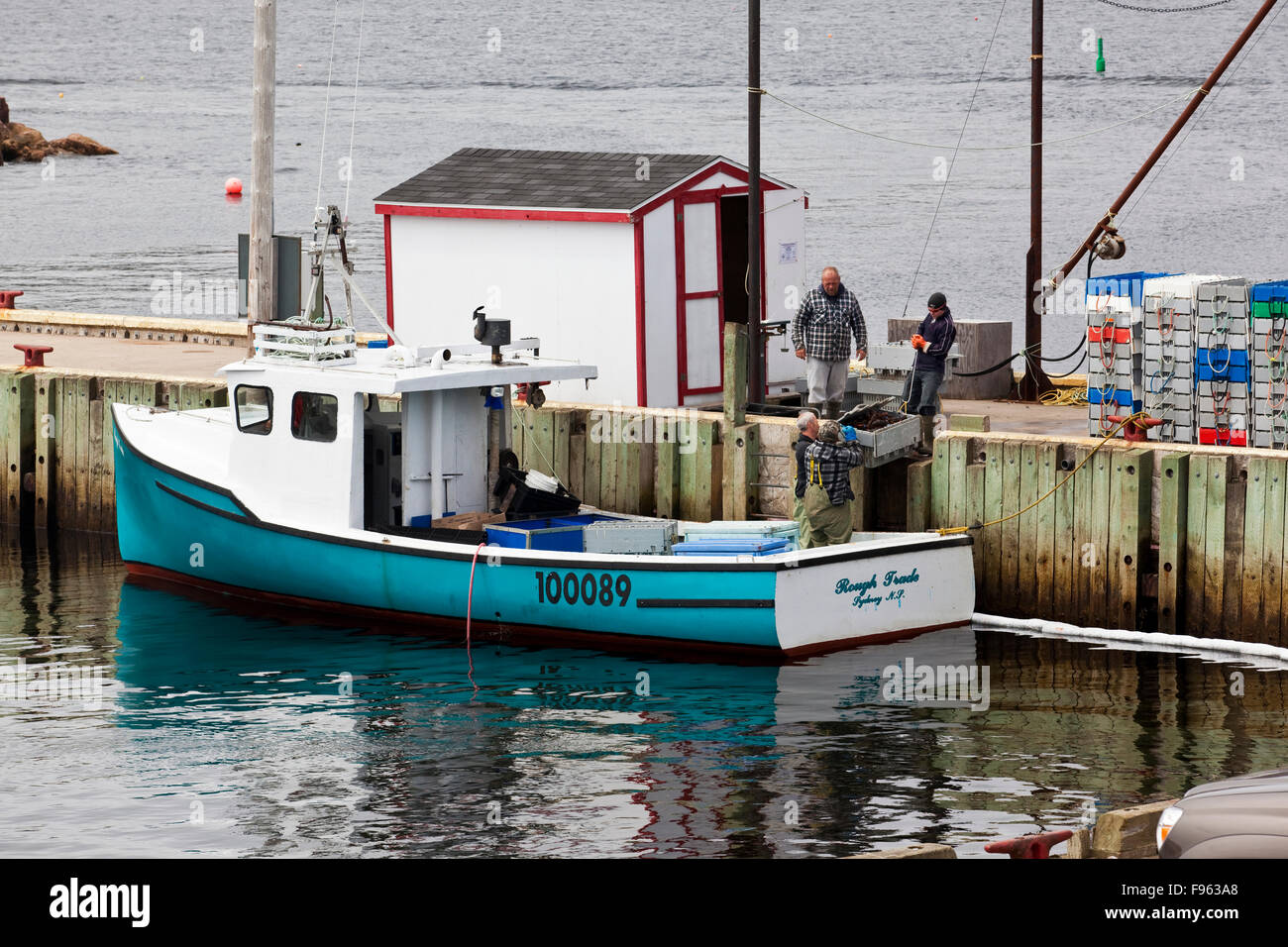 Lobster fishermen handing over their catch to buyers for weighing and processing, Neil's Harbour, Nova Scotia - Stock Image
