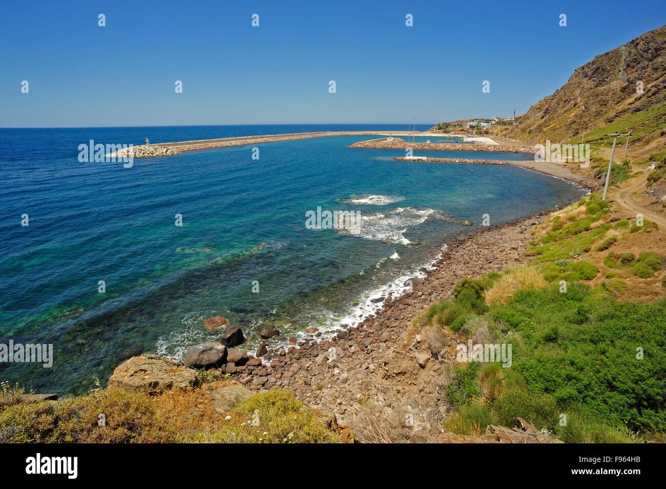 view of breakwaters and harbour, Babakale, Biga Peninsula, Turkey - Stock Image