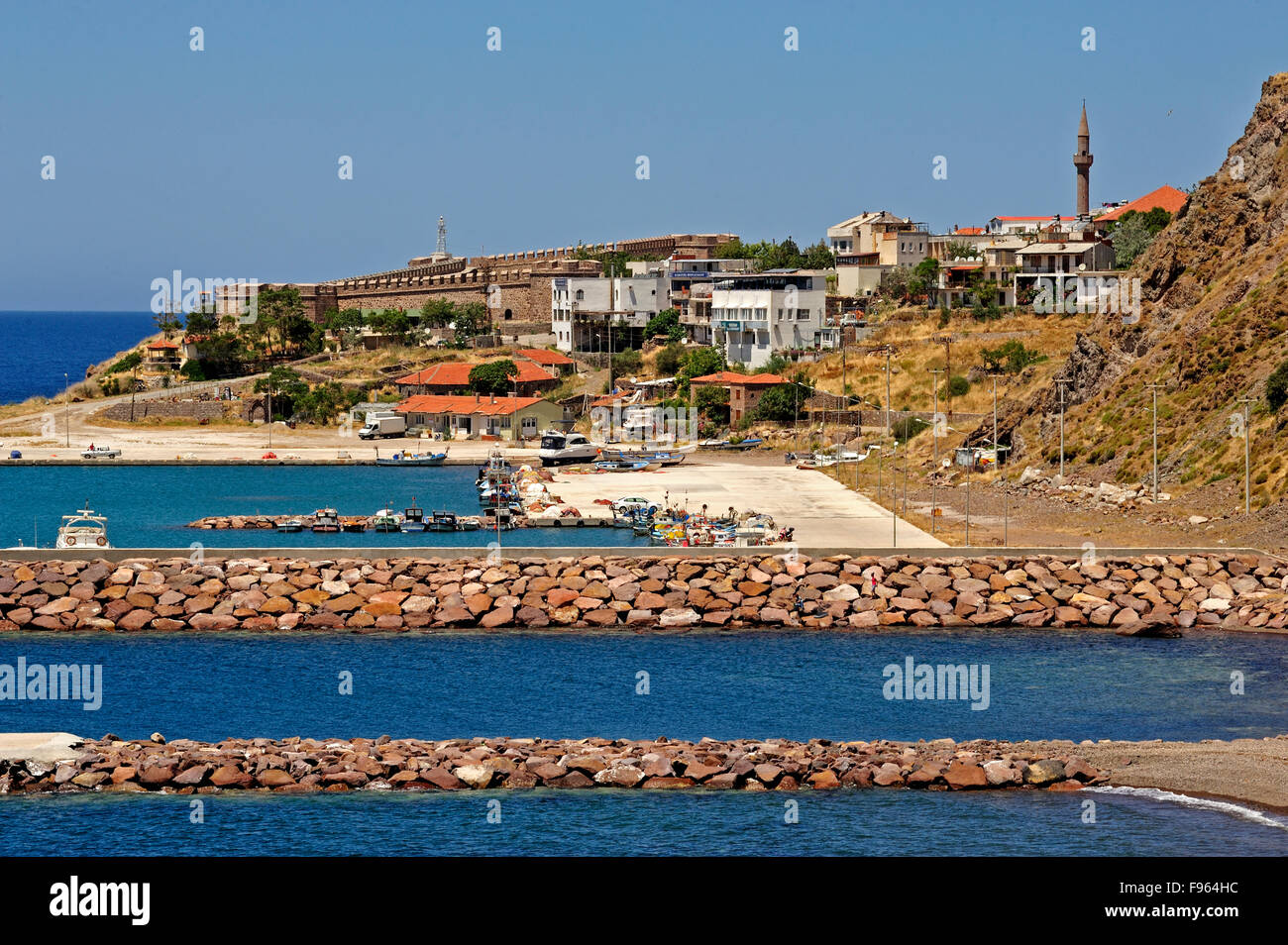 breakwaters and harbour, Babakale, Biga Peninsula, Turkey - Stock Image