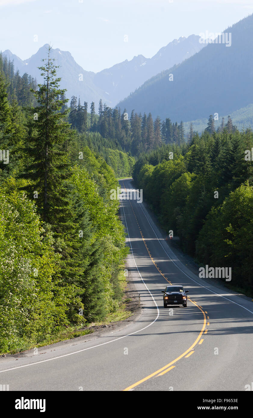 Traveler's heading south on hwy 19 near Hoomak Lake, Nimpkish Valley, Vancouver Island,british columbia,canada - Stock Image