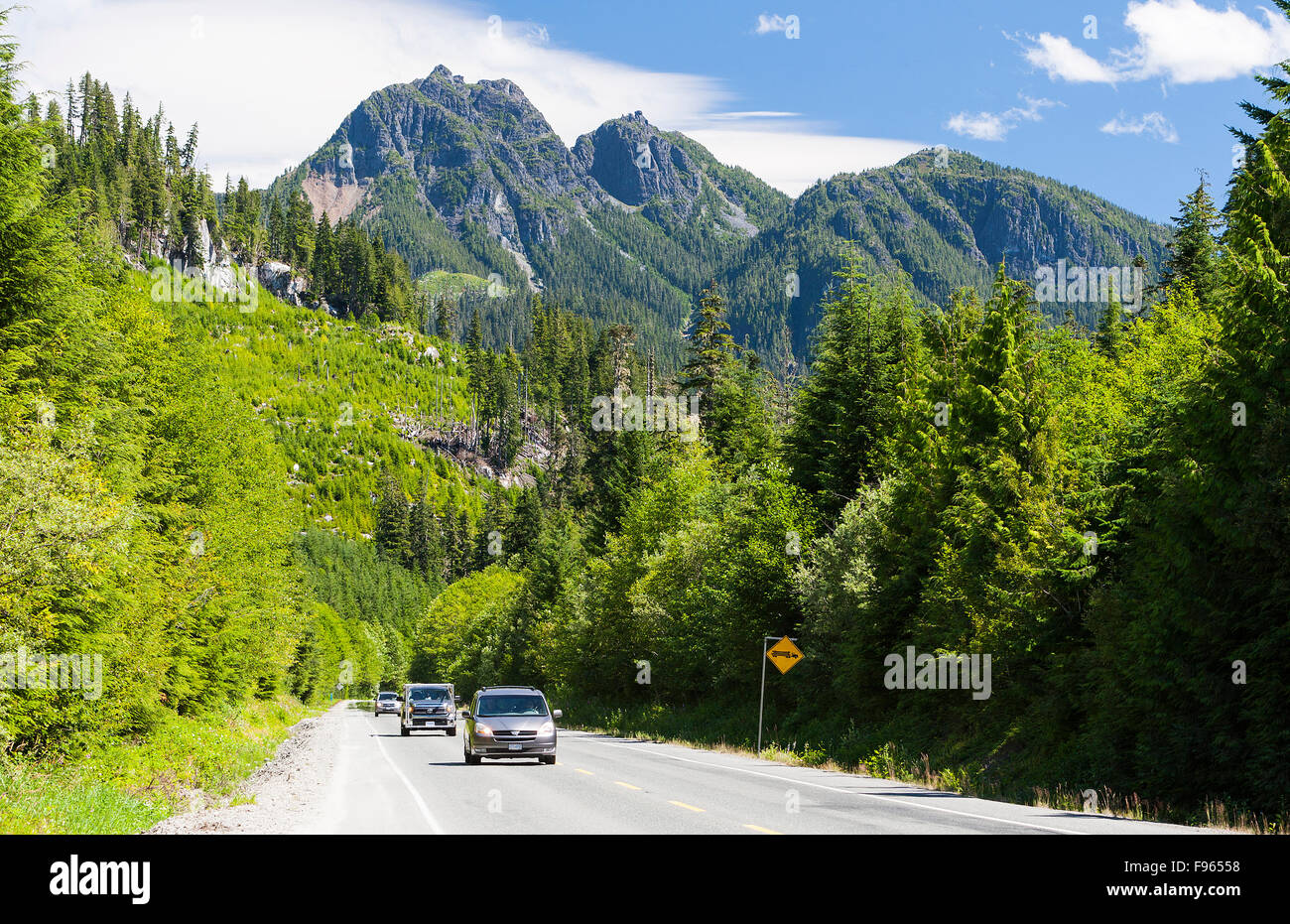 Highway scenic in the Nimpkish Valley along Highway 19, north of Hoomak Lake and south of Woss. - Stock Image