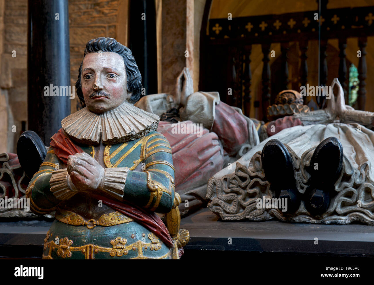 The Tanfield tomb - and weeper - in the Church of John the Baptist, Burford, Oxfordshire, England UK - Stock Image