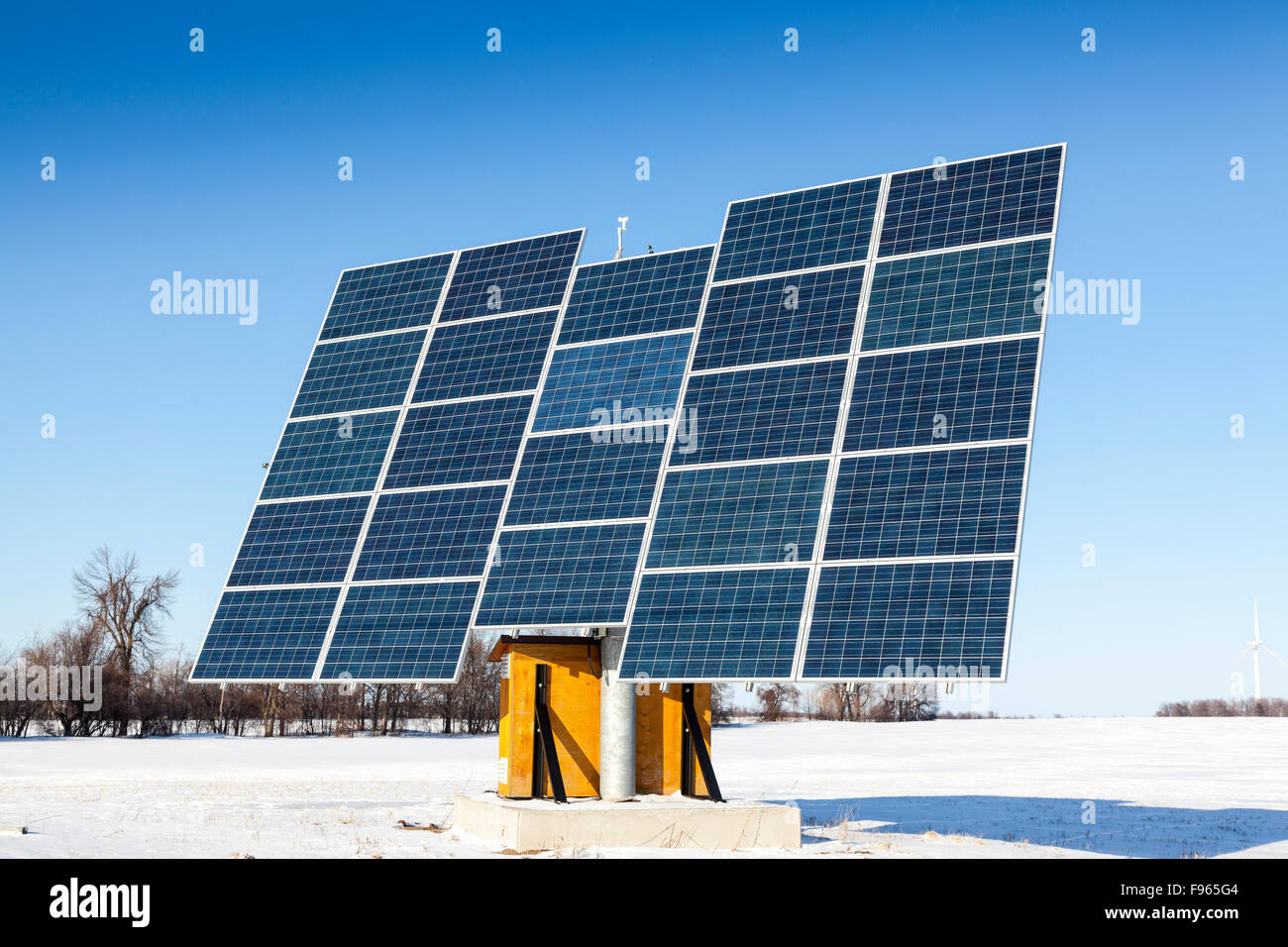 Solar panels and wind turbines on Wolfe Island, Ontario, Canada - Stock Image
