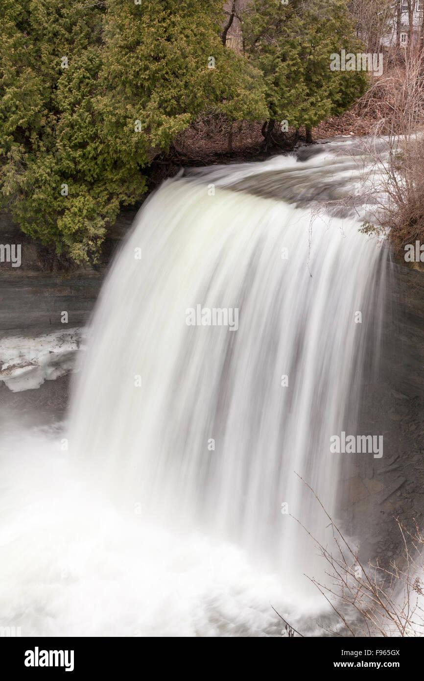 Bridal Veil Falls  a Niagara Escarpment plunge type waterfall on Manitoulin Island in Kagawong, Ontario, Canada - Stock Image