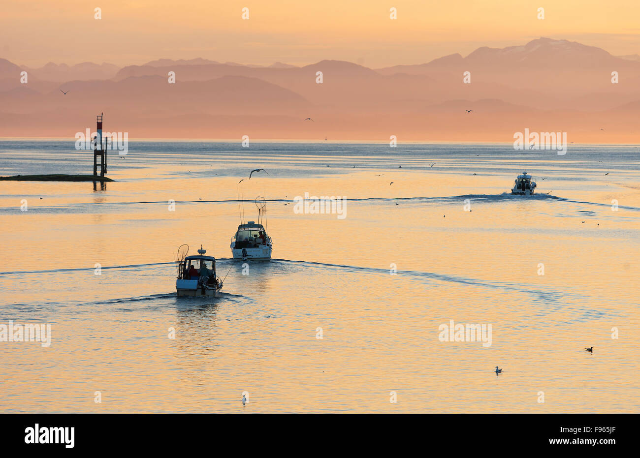 Sport fishing boats head out at dawn for a day on the water, heading out of Hardy Bay. - Stock Image
