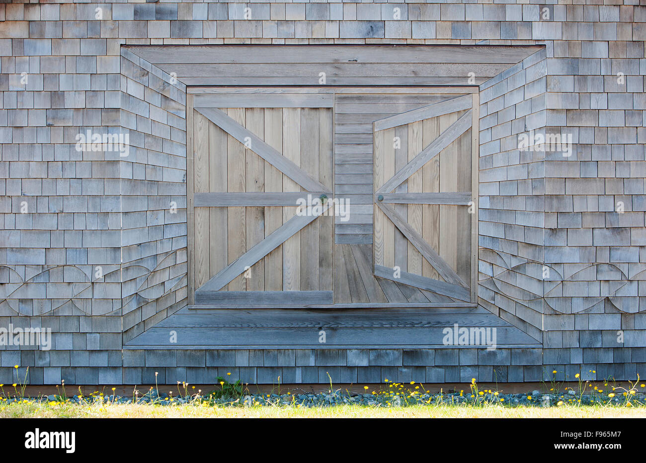 A creative owner's outbuilding with it's clever perspective created in wood. Sointula, Malcolm Island - Stock Image