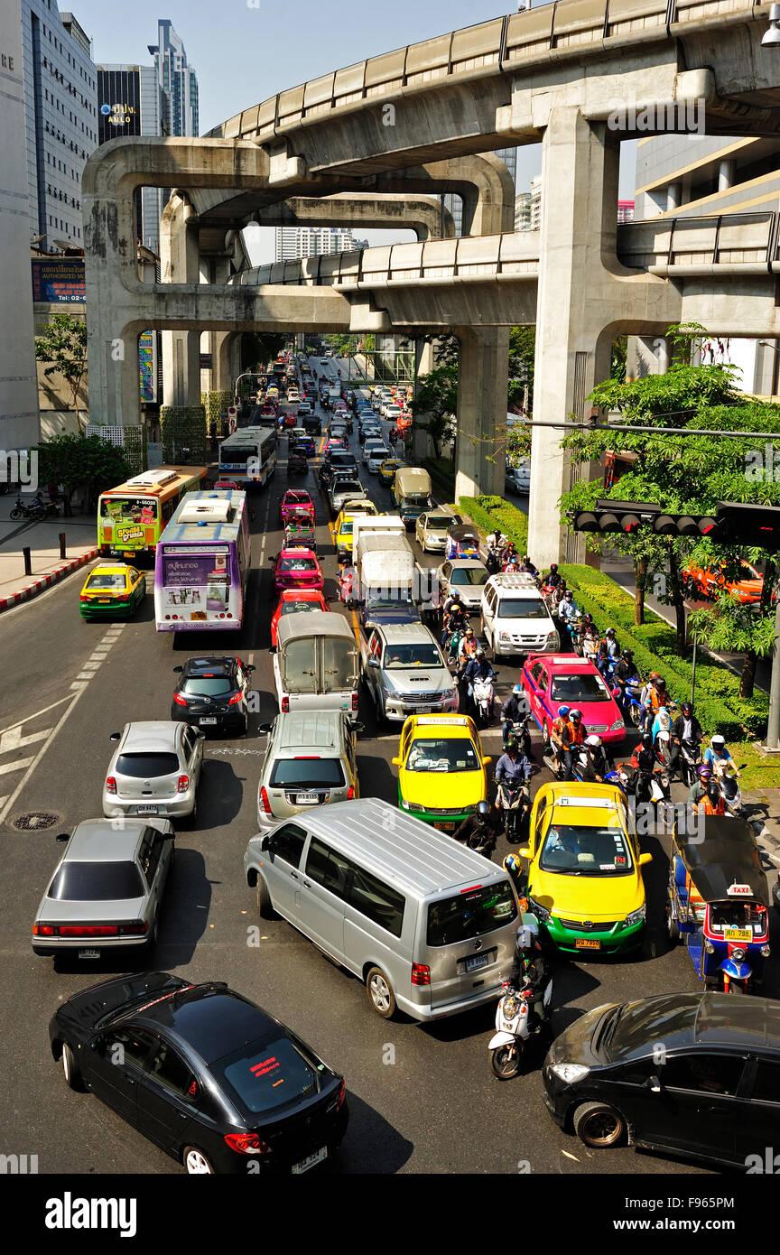 traffic near Siam Square, Bangkok, Thailand - Stock Image