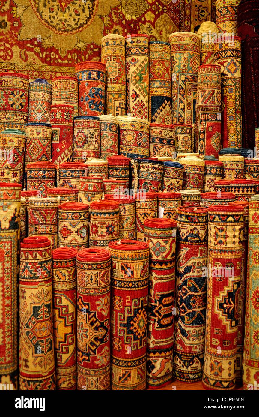 carpets in Ottomania Carpet Shop, Istanbul, Turkey - Stock Image