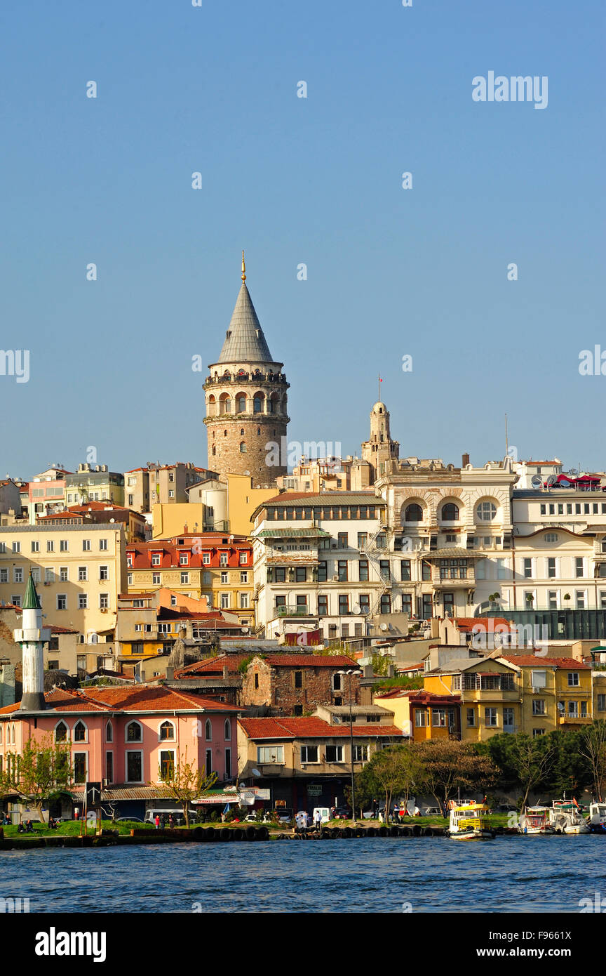 Beyoglu area viewed from Eminönü docks, Istanbul, Turkey - Stock Image