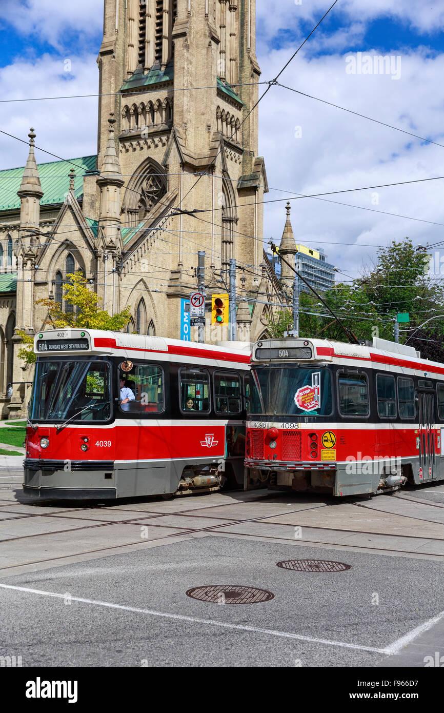 Streetcars, downtown Toronto, Ontario, Canada - Stock Image