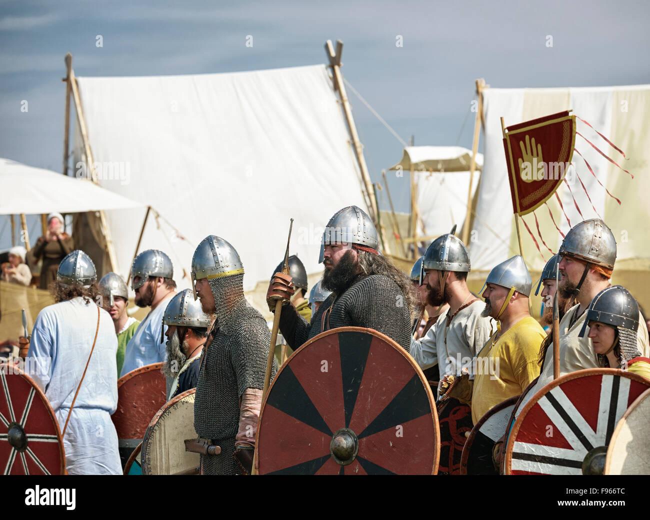 Vikings in battle reenactment at Icelandic Festival, Gimli, Manitoba, Canada - Stock Image