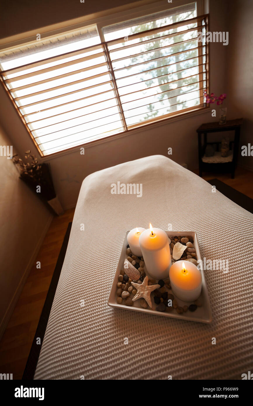 Still life image of interior of treatment room at one of the Comox Valley's popular destination spa's.  - Stock Image