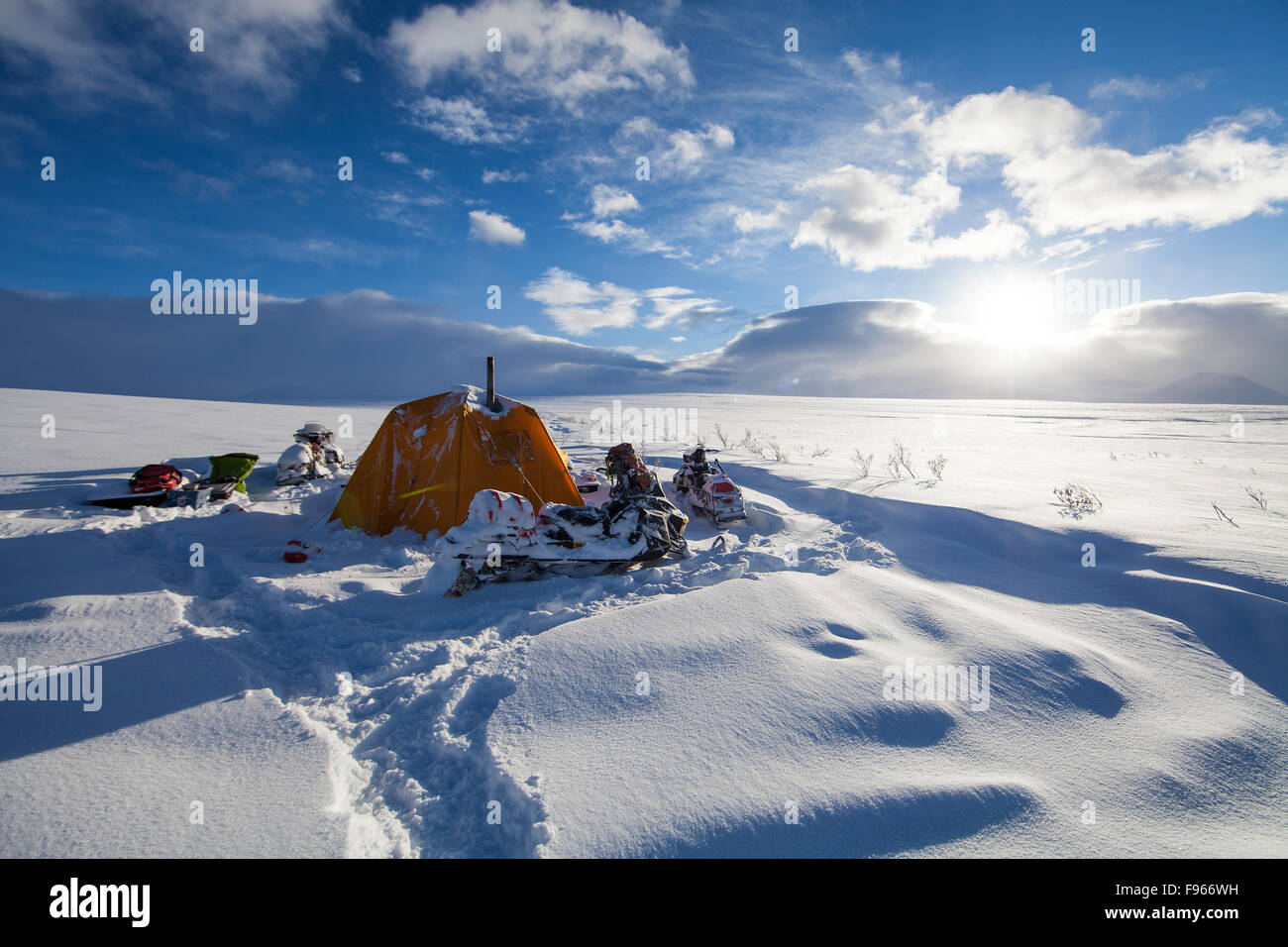 Winter camping scenic along the North Canol Trail  near the Yukon/NWT border. - Stock Image
