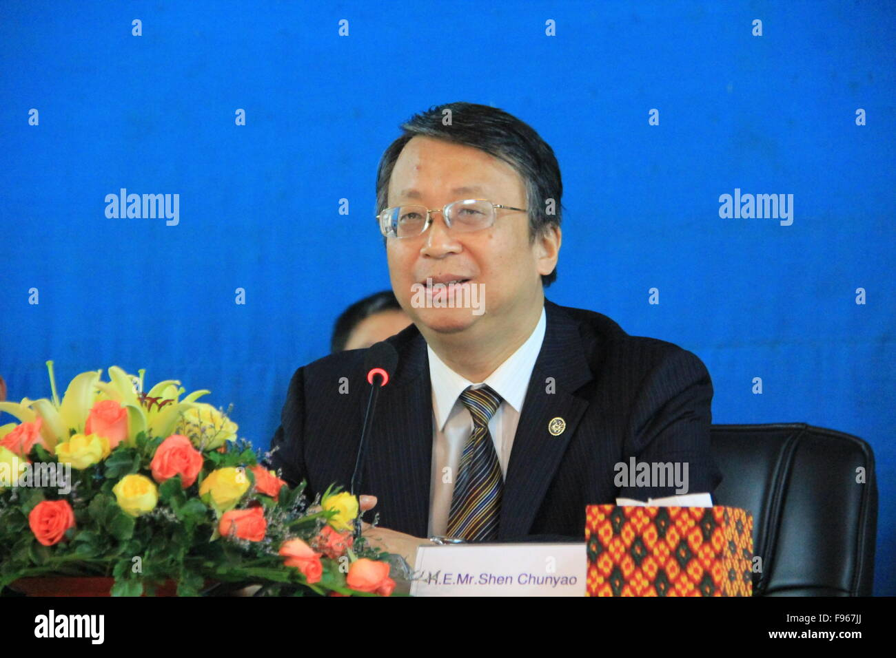 (151215) -- PHNOM PENH, Dec. 15 (Xinhua) -- Shen Chunyao, deputy secretary general of the Chinese National People's - Stock Image