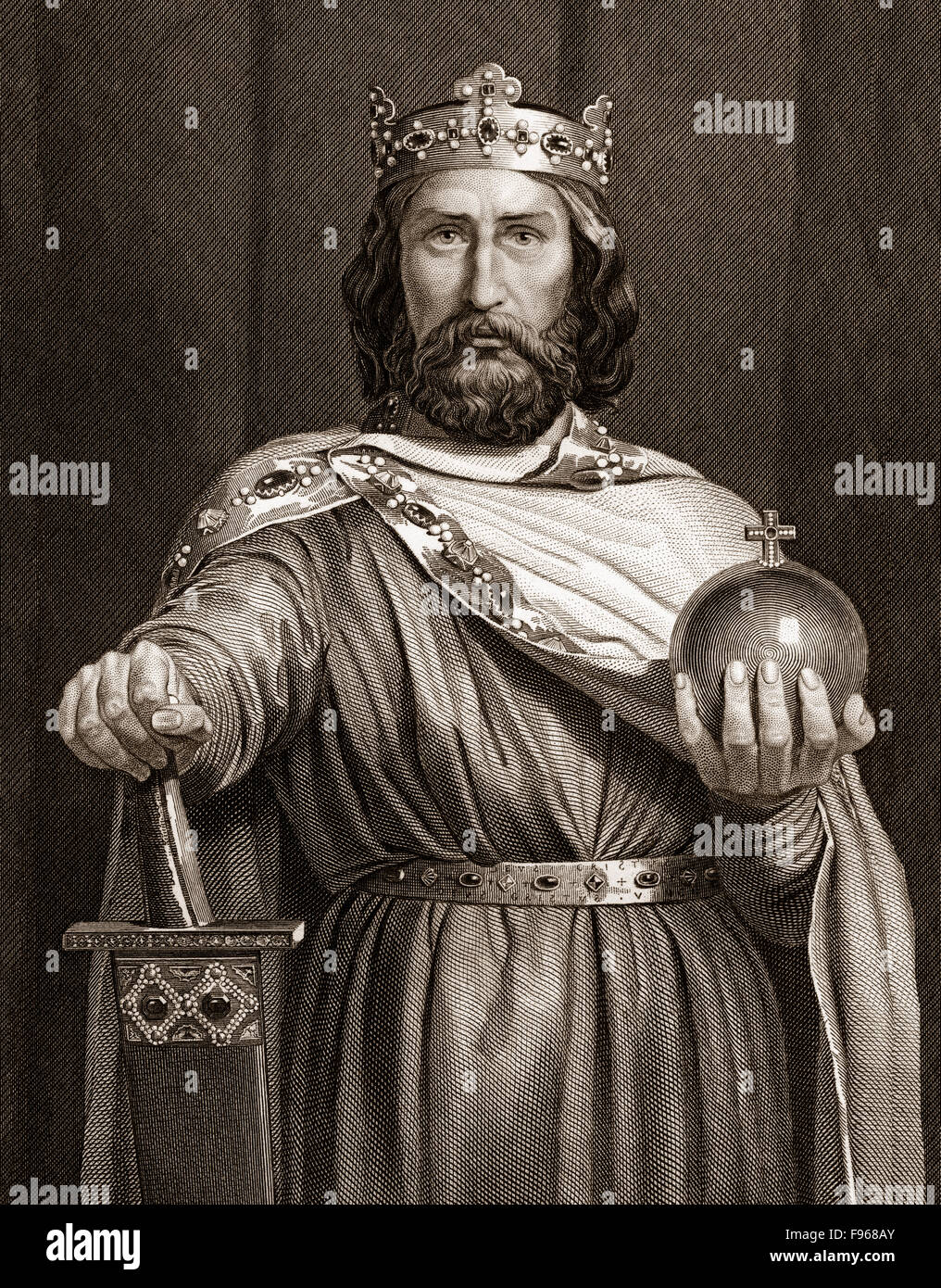 Charlemagne, wearing the Imperial Regalia, Charles the Great or Carolus Magnus, 747-814, King of the Franks and - Stock Image