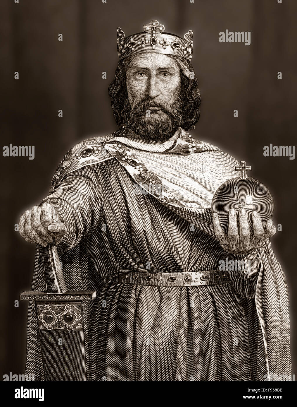 Charlemagne, wearing the Imperial Regalia, Charles the Great or Carolus Magnus, 747-814, King of the Franks - Stock Image